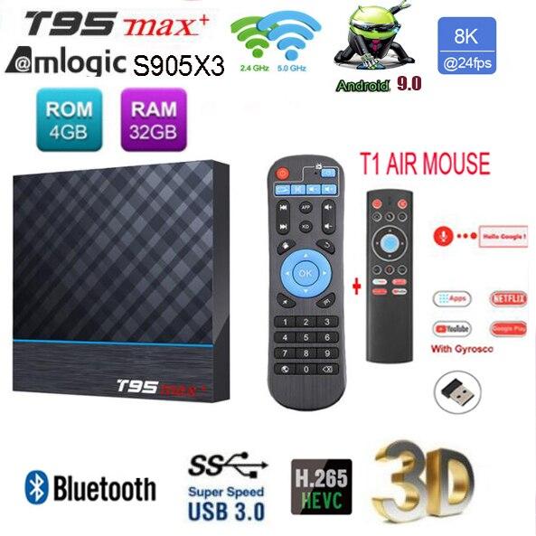 T95 MAX Plus, Android BOX 9,0, Amlogic S905X3, 2g, 16g, 2,4g, wi-fi, USB 3,0, HDR, 3D, decodificador 8K