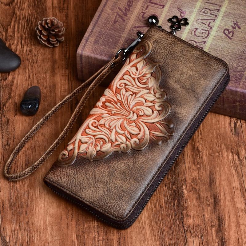 Bolso de mano Vintage para mujer, bolso de mano con múltiples tarjetas, cartera con cremallera larga en relieve de cuero genuino de alta calidad para mujer