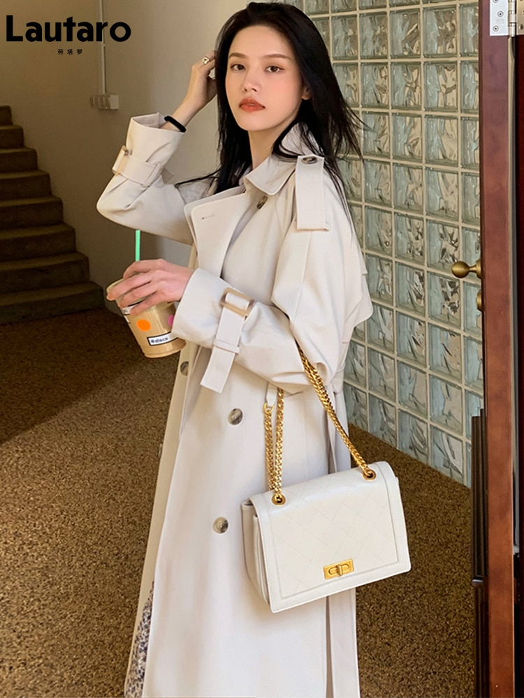 Lautaro Spring long white trench coat for women 2021 raglan sleeve double breasted loose soft korean