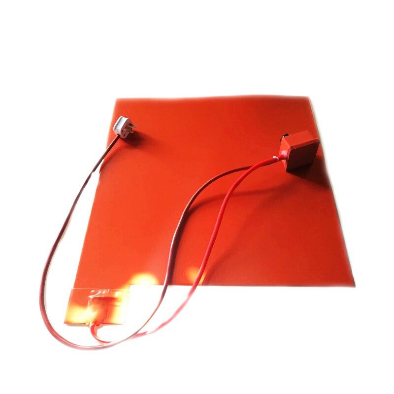 Calentador de silicona de 230V 1500W 500*500*1,5mm para termostato de dial de impresora 3d con cable de 1500mm