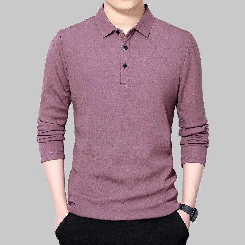 قميص بولو رجالي كم طويل موضة لون خالص ربيع جديد 2021