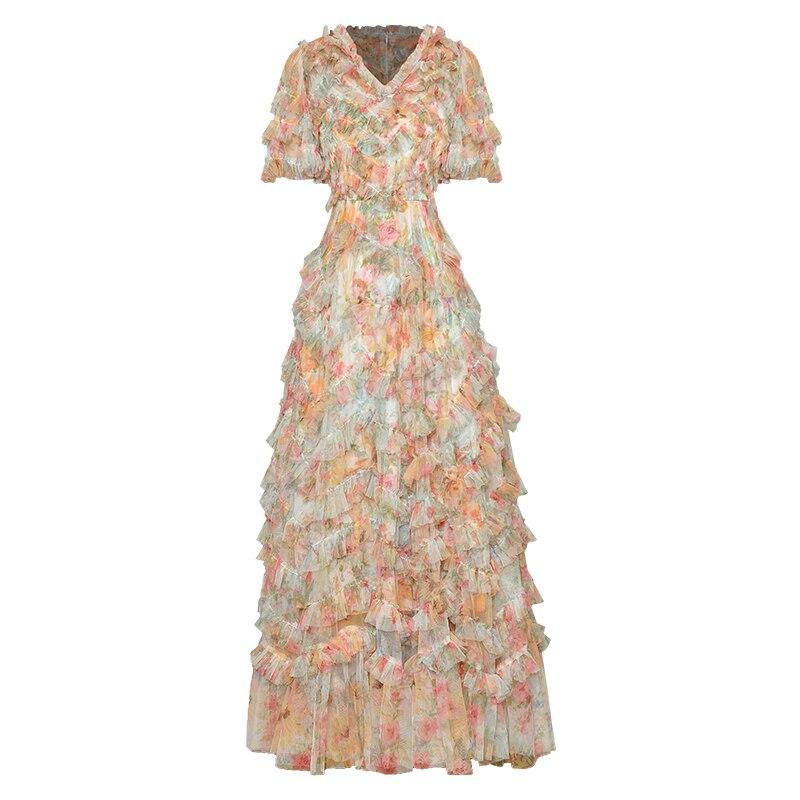 مصمم عالية الجودة الصيف موضة المرأة الخامس الرقبة مثير أنيقة الطبقات كشكش الكرة ثوب شبكة طباعة رائعة فستان طويل