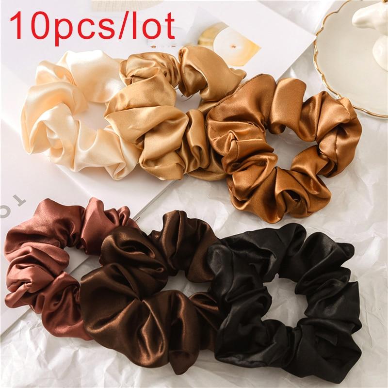 10 Uds. Corbatas de seda para el cabello de Color sólido satinada, accesorios para el cabello elásticos para mujeres y niñas, diademas