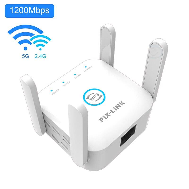 PIXLINK-repetidor WiFi inalámbrico de largo alcance, amplificador de red AC1200, 2,4 Ghz/5Ghz,...
