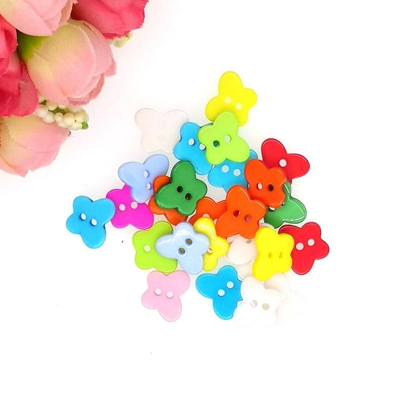Brilho 30 pçs botões de costura de resina scrapbooking borboleta doces cor misturada 2 furos 13x11mm costura botones decorar