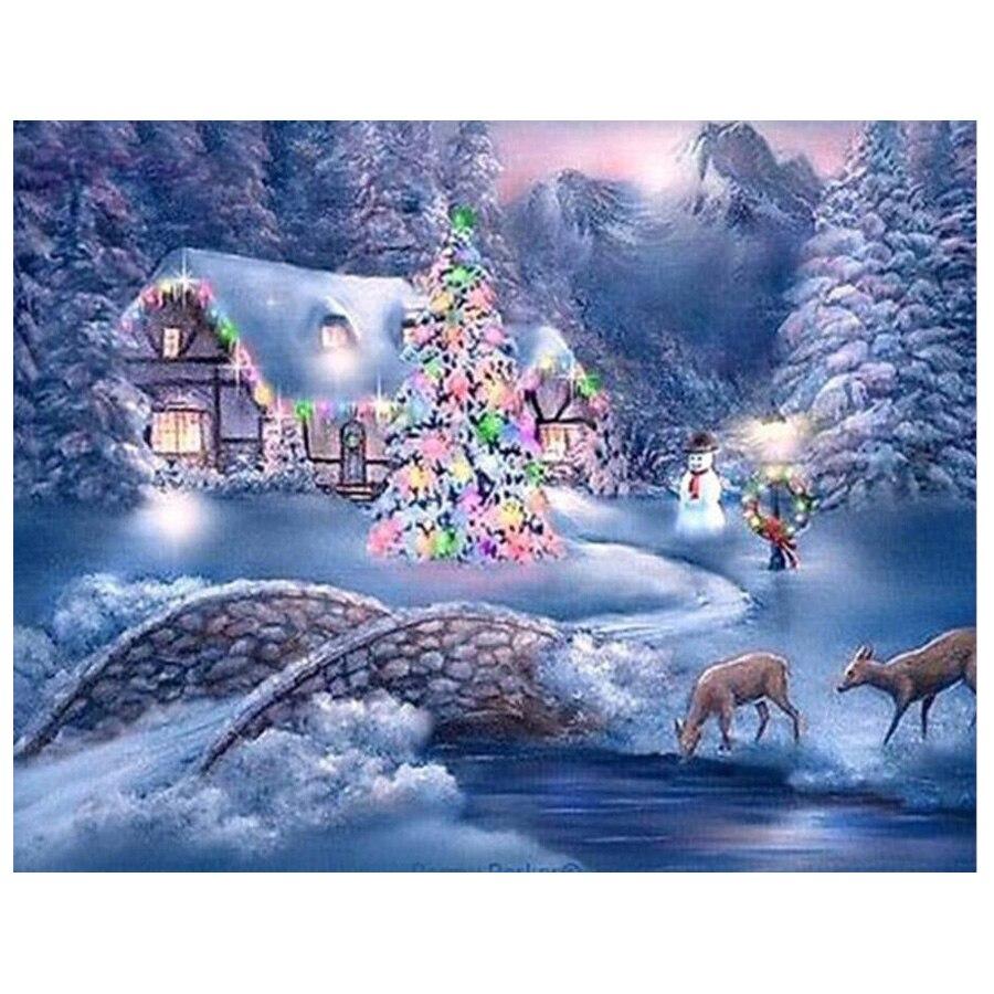 5D DIY pintura de diamantes paisaje nieve cuadro redondo cuadrado completo de diamantes de imitación mosaico invierno Navidad regalo hogar Decoración