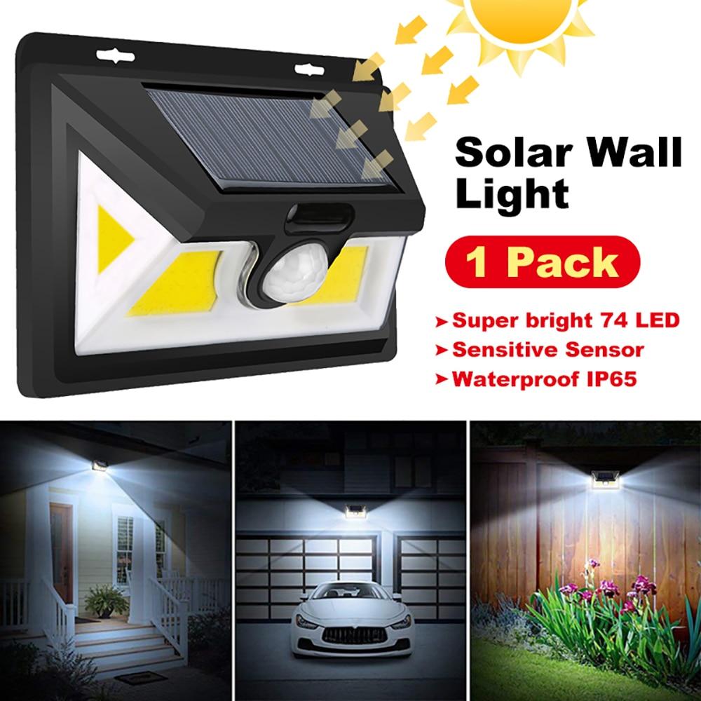 74 LED mejorados luces solares luz de pared iluminación de seguridad exterior impermeable IP65 Sensor de movimiento Super brillante luces de pared de jardín