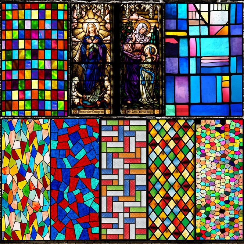 Tamanho personalizado filme de vidro eletrostático igreja europeia janela manchada térmico-isolamento decoração de casa matiz-filme 40cm x 100cm