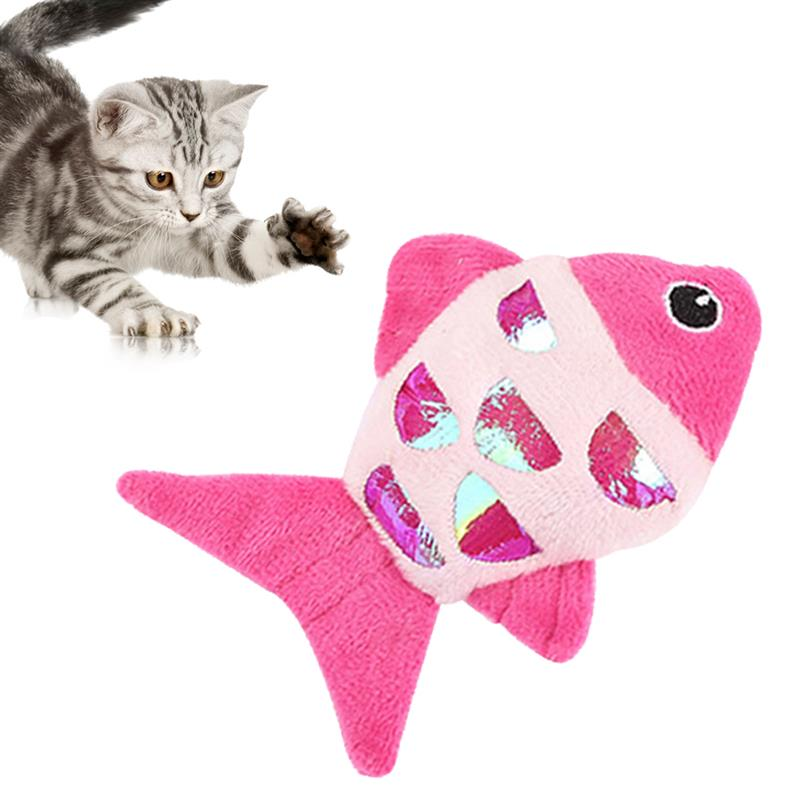 Animal de estimação brinquedo bonito peixe mordida-resistente pelúcia gato mastigar brinquedo mordedor de estimação gato crinkle brinquedo