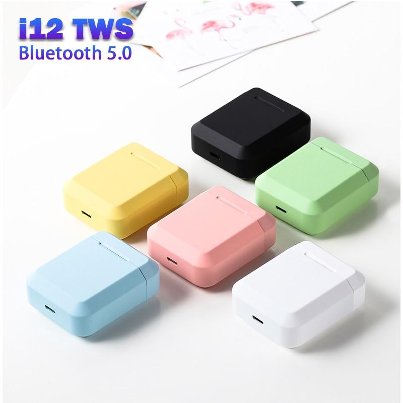 Original i12 TWS Bluetooth 5.0 Earphone Waterproof Earbuds with Charging Box Wireless Headphones for