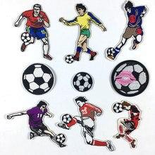 9 قطع/مجموعة ملصقات كرة القدم إصنعها بنفسك شارات كرة القدم المطرزة بشارات حديد للملابس والزينة على الظهر