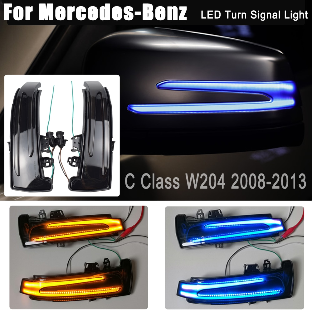 Blinker Dynamische Blau LED Blinker Rückspiegel Repeater Licht Für Mercedes-Benz A B C E S CLA GLA CLS Klasse W176 W246 W204