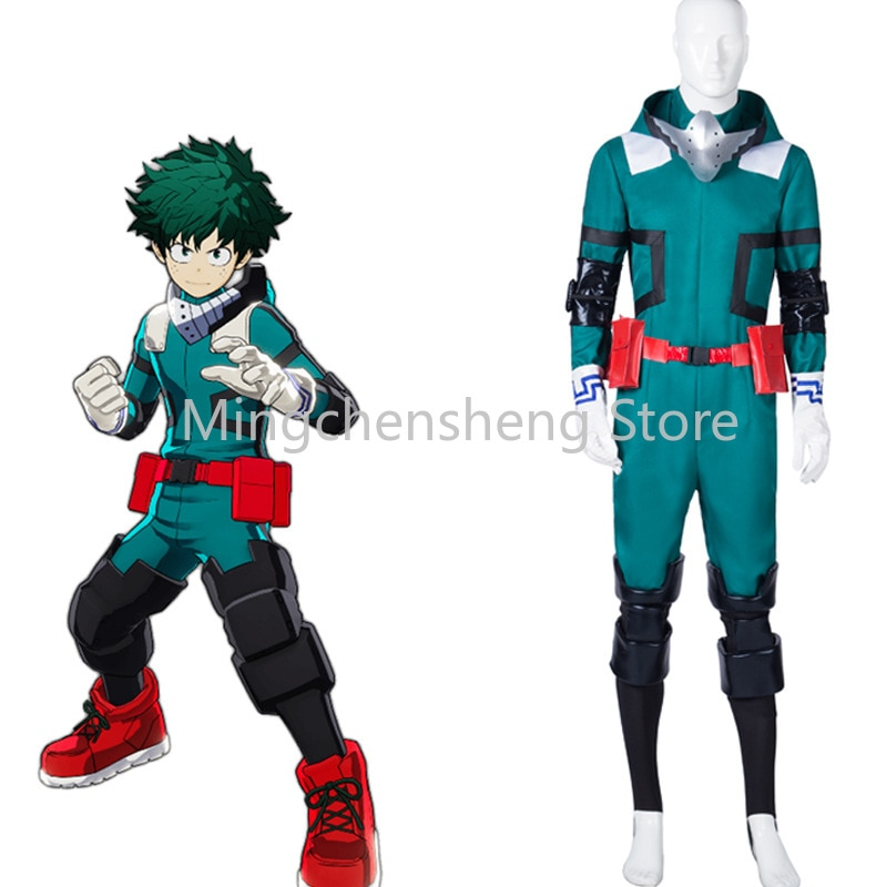 Anime My Hero Academia Cosplay Costume Midoriya Izuku Cosplay Deku Combats Uniform Halloween Battle Suit Costume Green Wigs