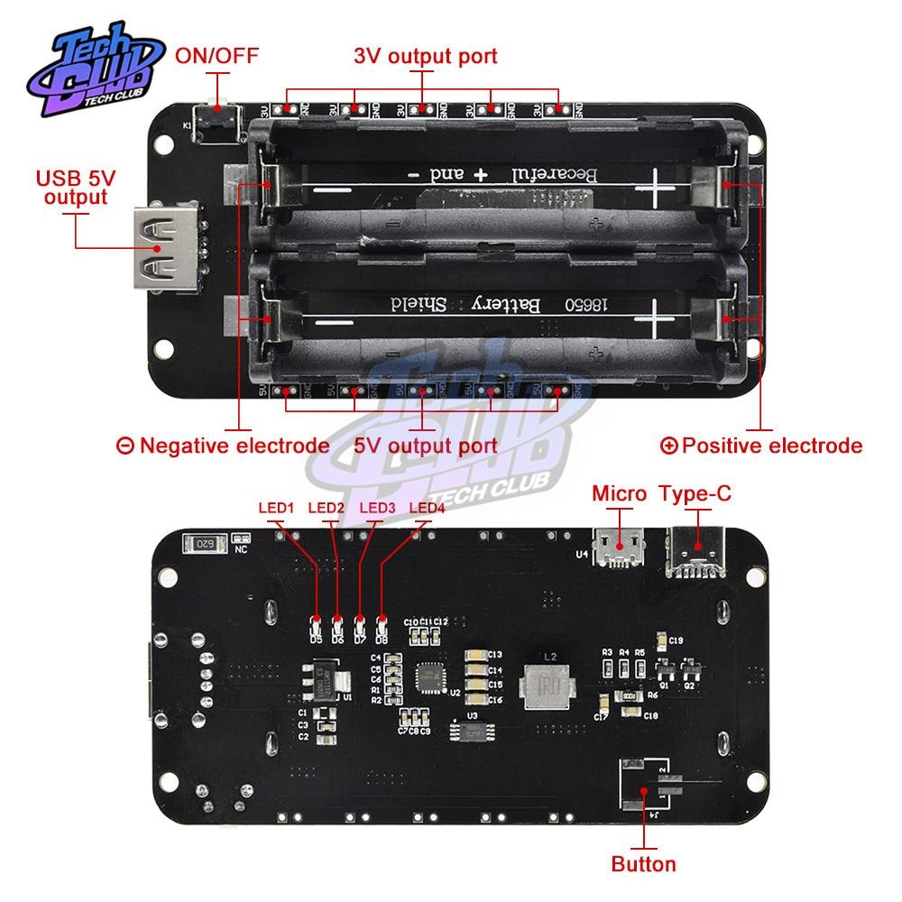 5V/3A 3V/1A 18650 batería de litio dos blindaje V8 banco de energía móvil placa de expansión Módulo de doble voltaje Micro USB para Arduino ESP