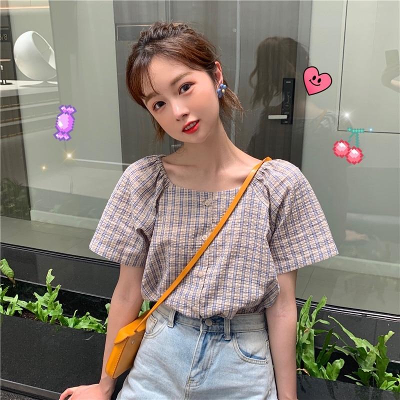 2021 Summer New Short-Sleeved Shirt Women's Design Sense Niche Square Collar Plaid College Style Sho