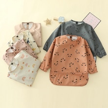 Baby Kids Toddler Long Sleeve Scarf Waterproof Art Smock Feeding Bib Apron Pocket Infant Boys Girls