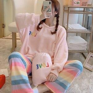 Pajamas Winter Flannel Women 2 PCS leepwear Nightwear Lovely Sweet Thicken Coral Fleece Pyjamas Suit Sleep Set Casual Homewear