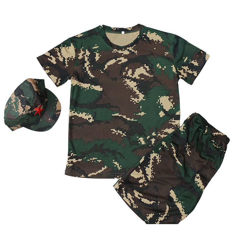 Children 3-Pcs Military Clothing Kids Army Military Uniform Scouting School Training Camouflage Short Sleeve Tops+pants+hat Sets