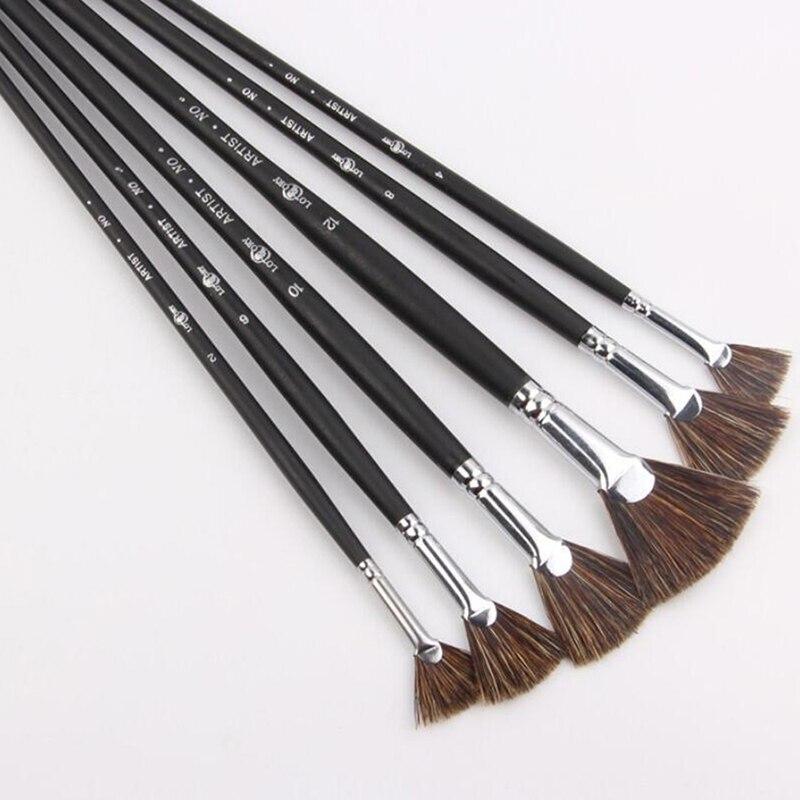 Fan Shape Art Supplies Painting Pen Oil Paint Brush Student Stationery Special Offer Wild Boar Bristle Brush Pen Sets 6pcs/Set