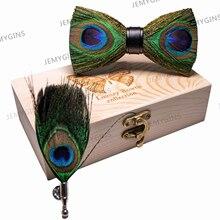 JEMYGINS-costume plume de paon homme   original, en pin, fait à la main, broche nœud papillon, ensemble cadeau, fête de mariage