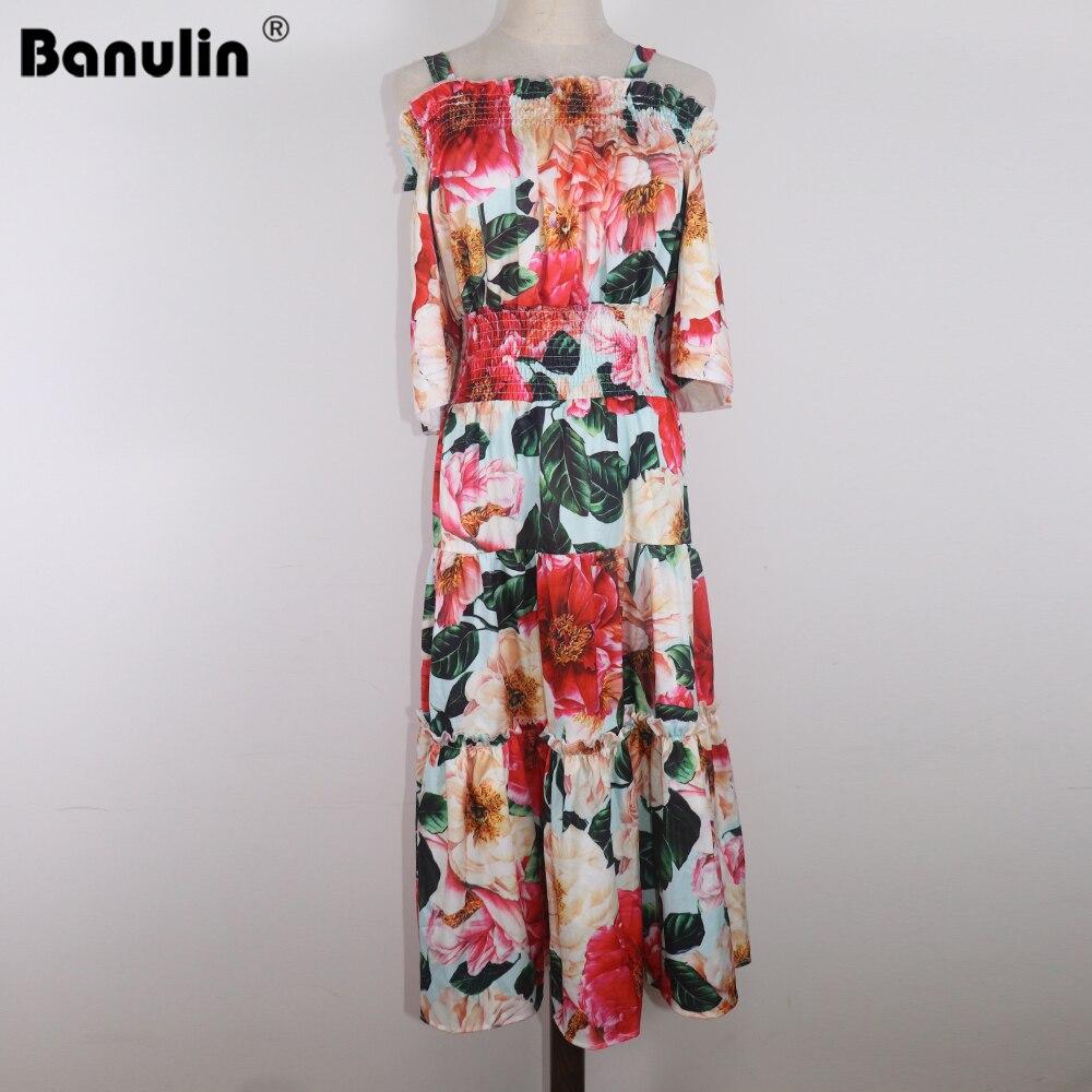 Banulin 2021 Summer Runway Sphaghetti Strap Beach Dress Womens Off Shoulder Elastic Waist Floral Print Ruffles Boho Long dress