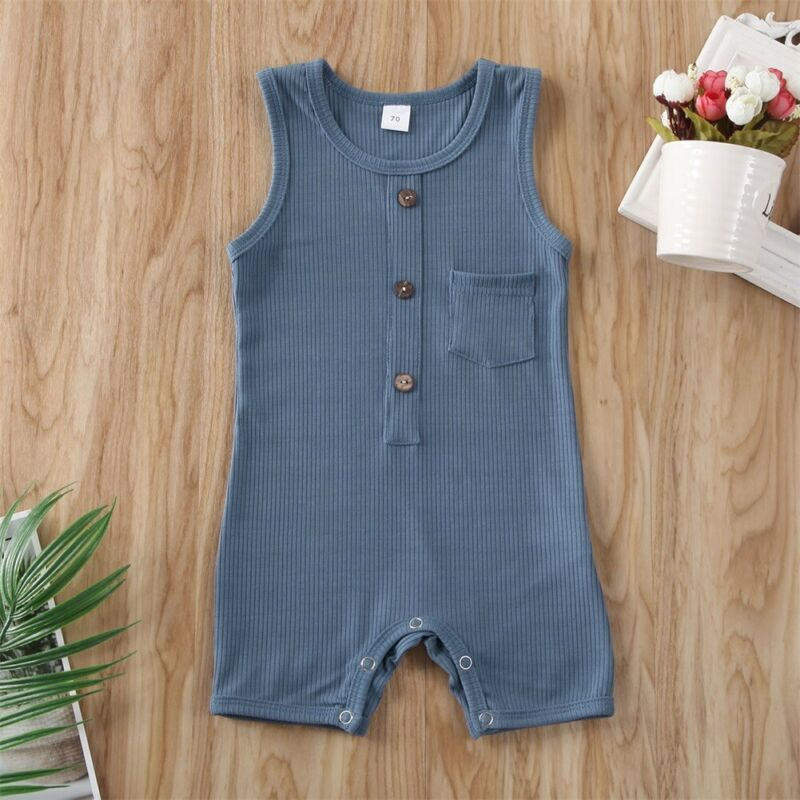 CANIS recién nacido bebé niño niña mono de botón sin mangas botón Color sólido mono trajes ropa verano
