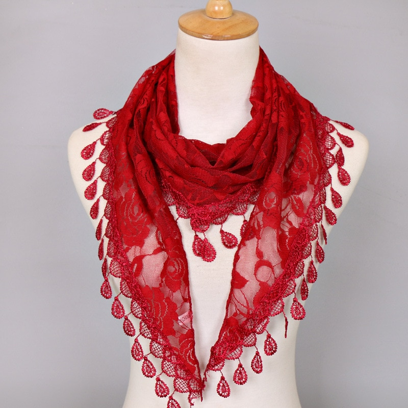 AliExpress - Women Lace Scarf  Pure Color Lace Tassel Headscarf Triangle Scarf Hollow Out Tassel Shawls Scarves Thin See Through Scarf Red