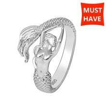StrollGirl فضة 925 حورية البحر جميلة قابل للتعديل فتح حجم حلقة مجوهرات الأزياء صنع للنساء هدية شحن مجاني