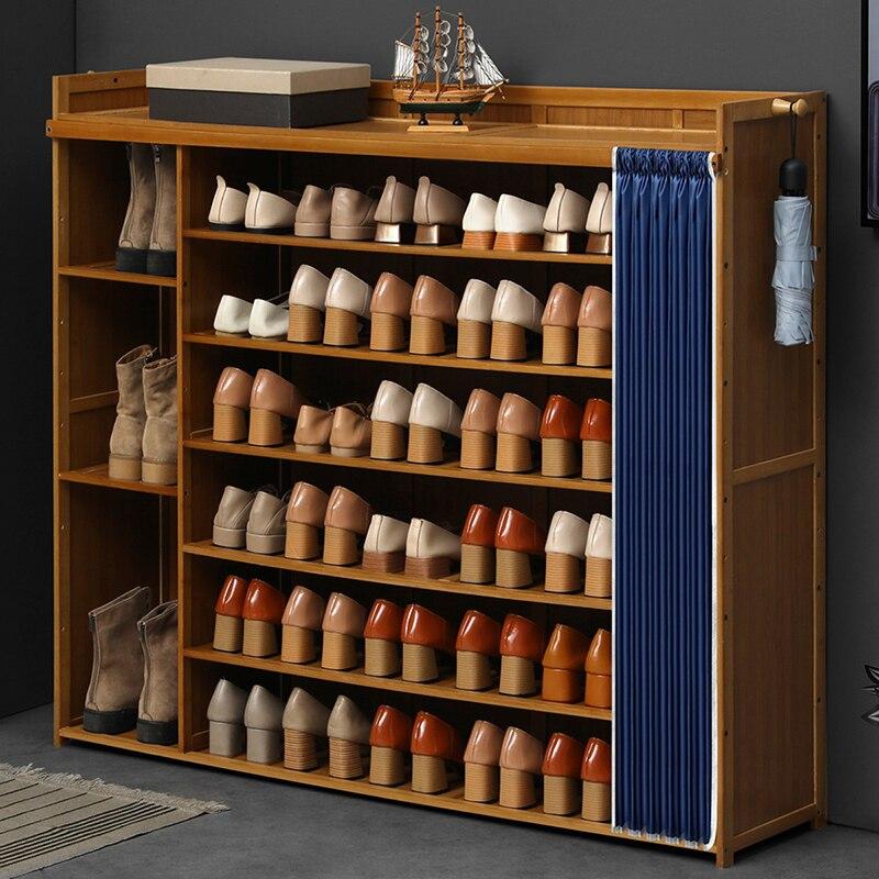 خزانة خذاء عصرية بسيطة مدخل منزلي سعة كبيرة رف تخزين بسيط من الخيزران البساطة Shoerack رف أحذية متعدد الوظائف