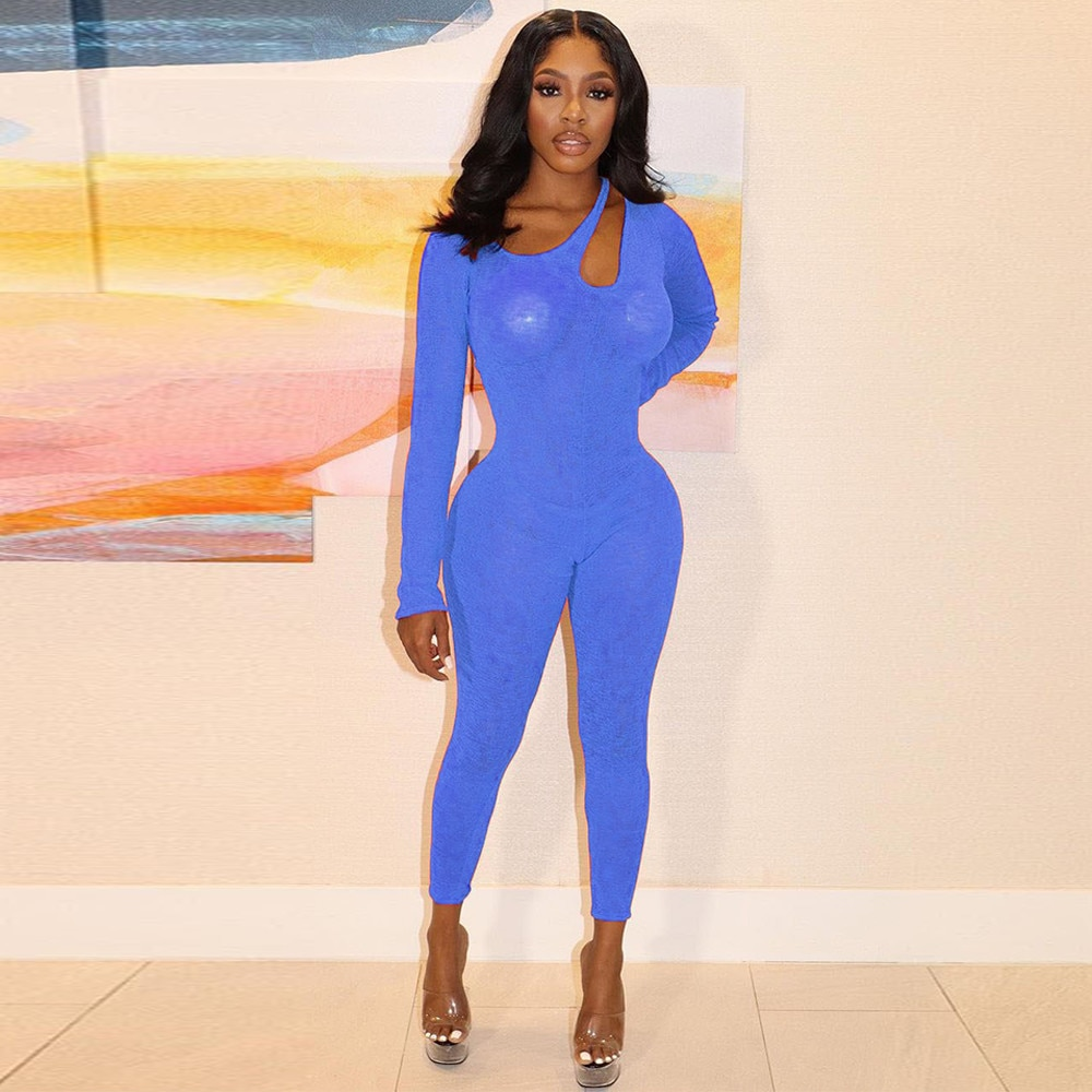 Bulk Items Wholesale Lots Unique Design Rompers Womens Jumpsuit Hollow Out Shoulder Full Sleeve Transparent Skinny Club Outfit enlarge