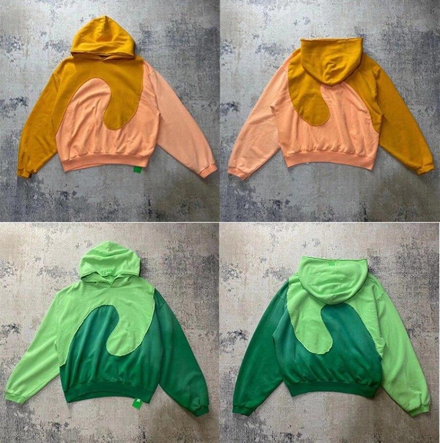 سترة جاستن بيبر بغطاء للرأس للرجال مقاس 1:1 قماش عالي الجودة ثقيلة كاني ويست بلوفر برتقالي أخضر بلوزات نسائية