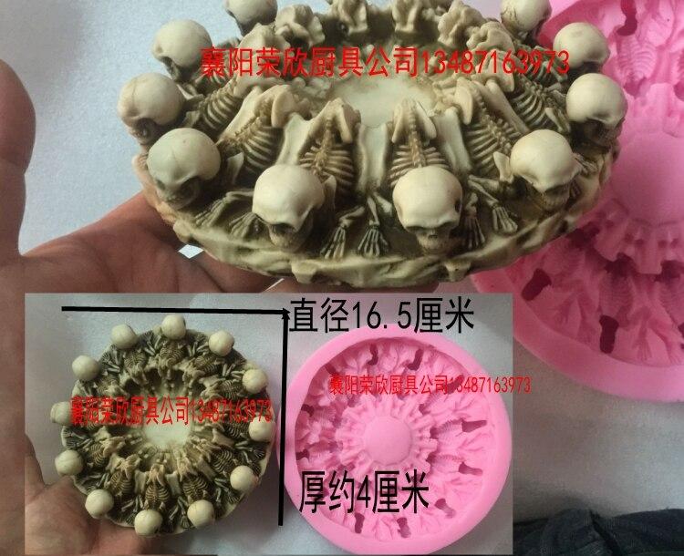 Molde de Comida Crânio Silicone Halloween Decoração Molde