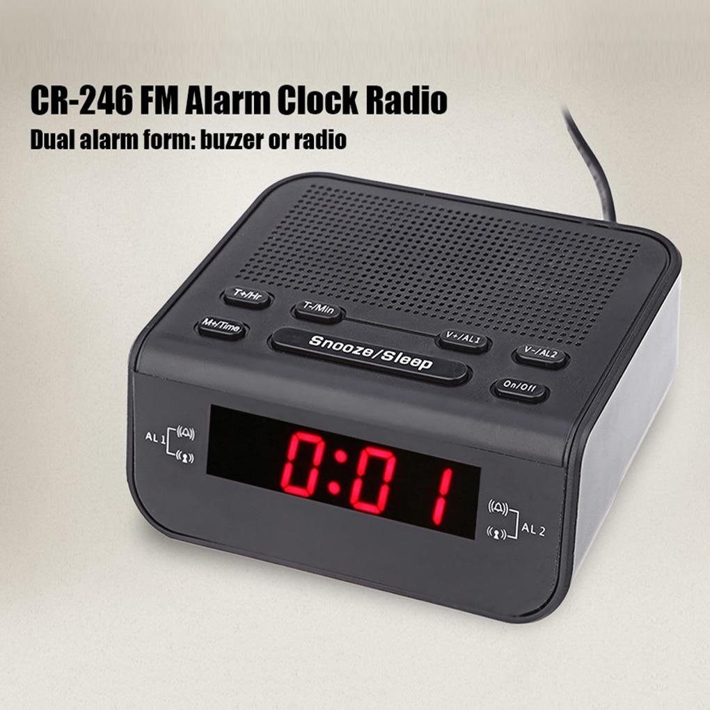 Digital LED Alarm Clock Radio Modern Red LED Time Display Clock FM Radio Dual Alarm Buzzer Snooze Sleep Radio AC EU Plug
