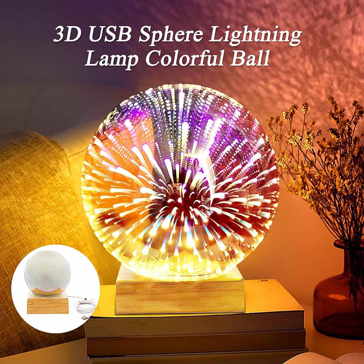 Lámpara Lightning con esfera USB 3D de cristal, Bola de colores, luz nocturna, esfera de cristal mágico LED, novedad, lámpara de mesa de Plasma