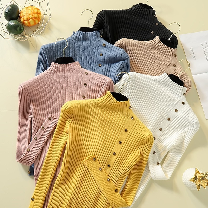 autumn and winter sweater women 2020 new slim size long sleeve bottoming shirt students korean warm sweater t shirt tide Sweater Women's Autumn and Winter New Pullover Sweater Long Sleeve Slim Bottoming Shirt  Woman Sweaters