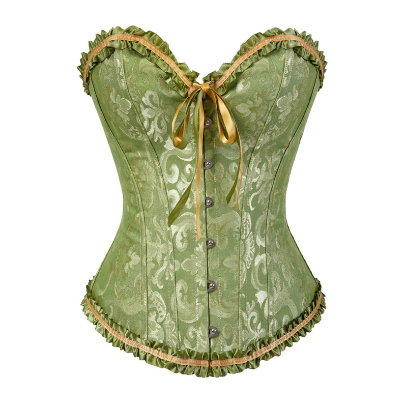 Sapubonv corsets and bustiers shapewear lingerie overbust corset plus size brocade women sexy corset vintage 6xl red black green