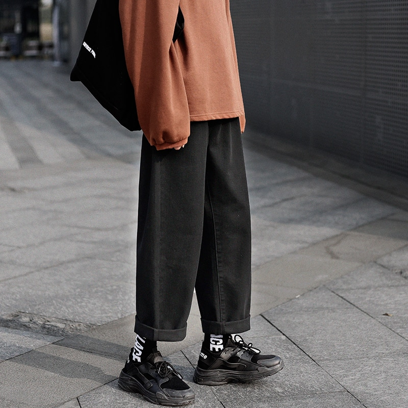 Pantalones vaqueros de pierna ancha Retro para hombre... Pantaln recto informal de...