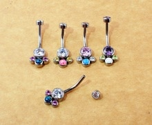ASTM F136 Titanium 14g Titanium Mix Opal Clear CZ Gem Cluster Belly Navel Ring Piercing Jewelry