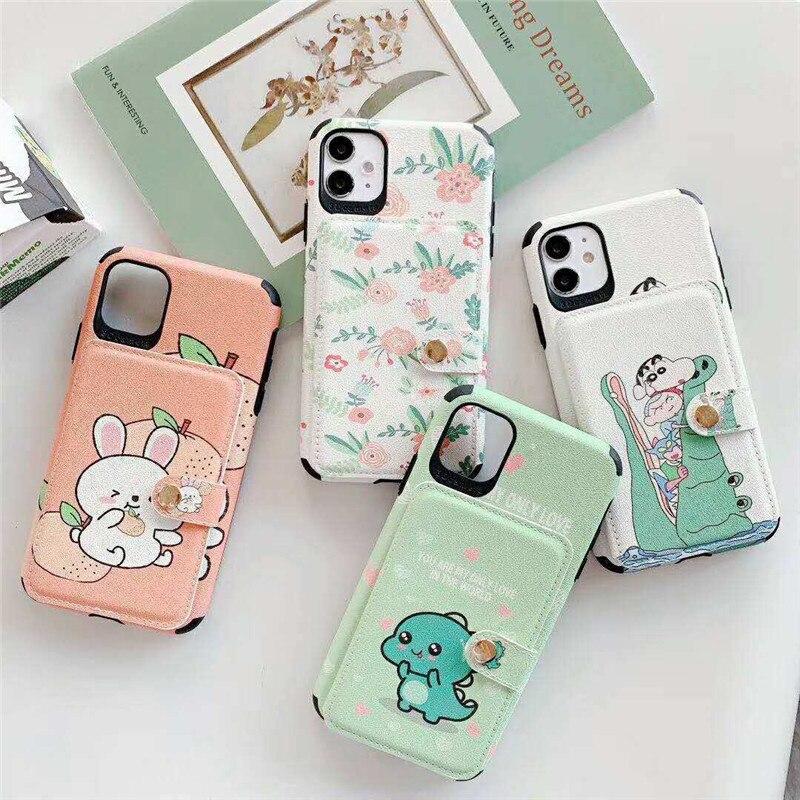 Funda bonita con dibujos de dinosaurios y unicornios para iPhone SE 2020, funda Floral con tarjetero para iPhone 11 Pro Max X XS XR 7 8plus