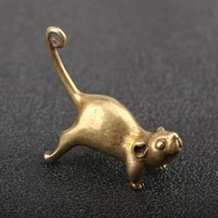 solid copper long tail zodiac little mouse decoration exquisite cute tailing up personalized mini copper mouse keychain