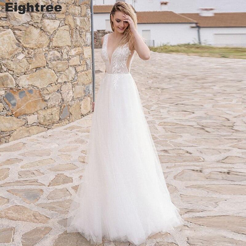 Eightree Beach A Line Wedding Dress V-neck Sleeveless Lace Appliques Gown Bohomian Backless Bride Vestido de Novia