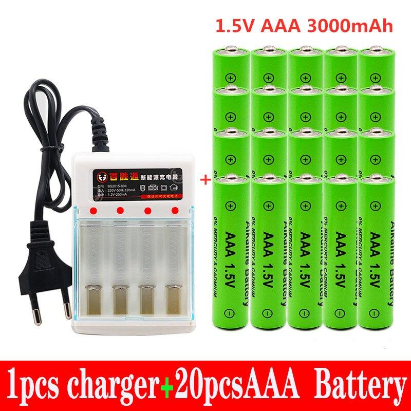 Bateria recarregável aaa 3000 v 1.5 mah da bateria 3000 mah de taaa novo recarregável alcalinas drummey + 1 pces carregador de bateria de 4 células