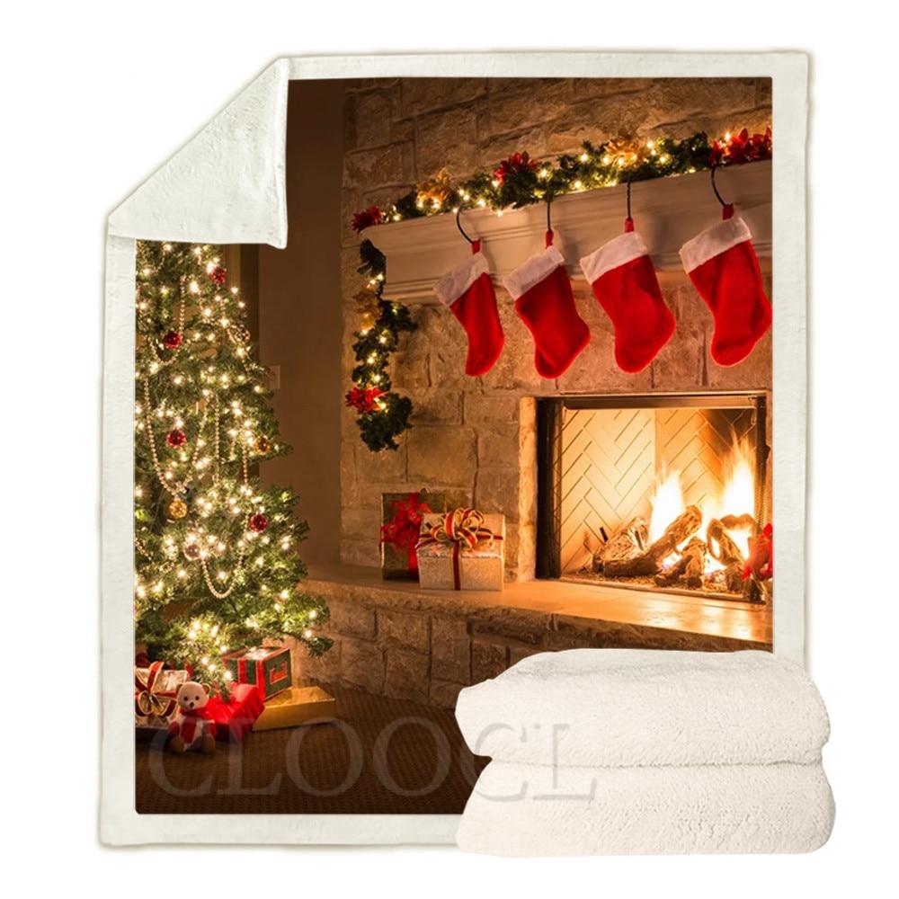 CLOOCL عيد الميلاد موضوع البطانيات الجوارب الموقد أضواء شجرة عيد الميلاد ثلاثية الأبعاد طباعة أفخم لحاف عيد ميلاد سعيد بطانية