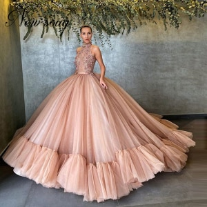 Middle East 3D Flower Evening Dresses Turkish 2020 Dubai Couture Formal Ball Gown Long Prom Gowns Arabic Celebrity Party Dress