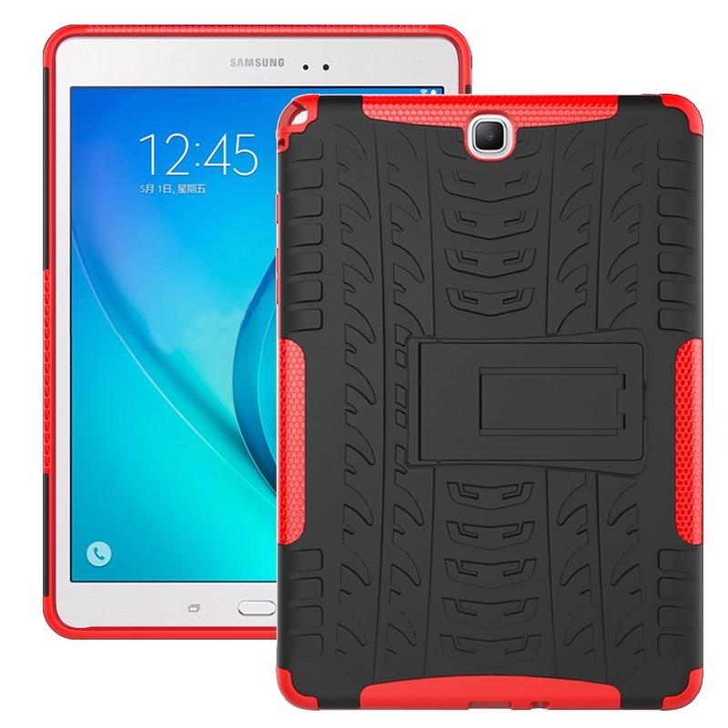 Funda con soporte A prueba de golpes para Samsung Galaxy Tab A 9,7 pulgadas T550 T555 funda trasera de silicona dura PC tpu de plástico blando