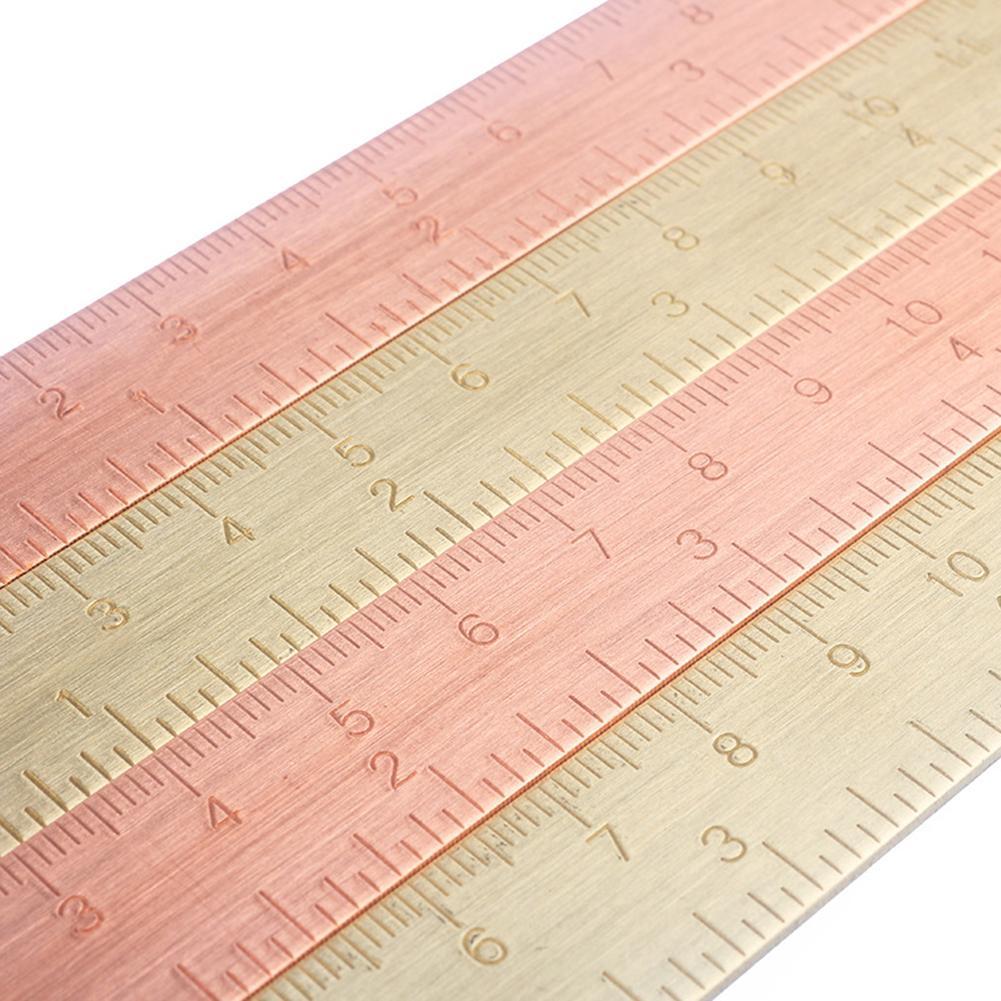 1pc 15 cm bronze régua marcador chancery rosa ouro medição régua reta para a escola papelaria pintura de metal ferramentas de desenho