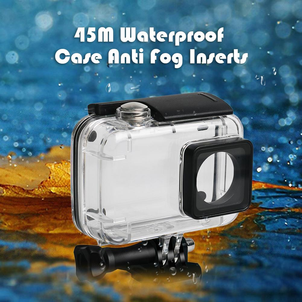 Para xiaomi yi 4 k 4 k + lite descoberta 45 m à prova dwaterproof água caso anti nevoeiro inserções