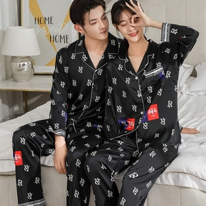 Fashion Home Wear Women Sets Couple Ice Silk Pajamas Women two-piece suitHigh Quality New Long Sleeve Cardigan Luxury Pajamas