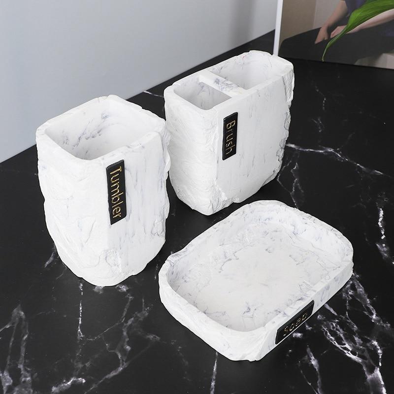 3 قطعة إكسسوارات الحمام مجموعة ، الرخام تصميم فرشاة الأسنان مجموعة حامل ، تحتوي على كأس فرشاة الأسنان ، صحن الصابون ، بهلوان