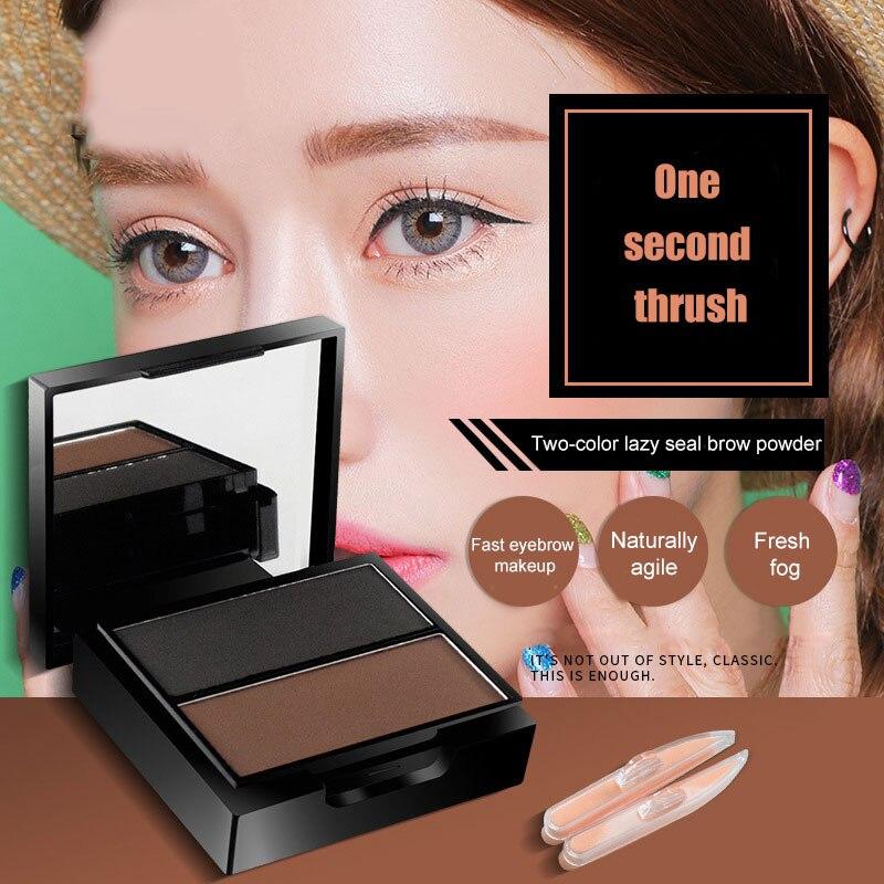 2 colores de maquillaje en polvo de cejas cosméticos de recorte de cejas con sello de cejas HJL2019